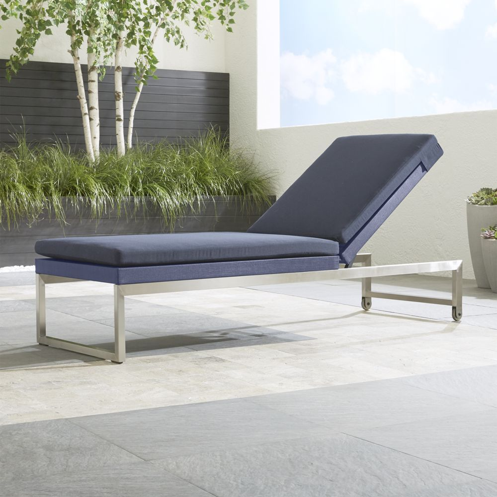 Dune chaise lounge with sunbrella cushion crate and barrel