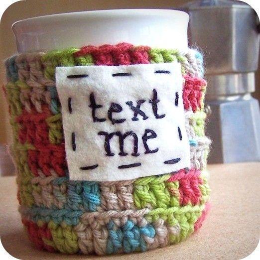 Text Me funny coffee mug cozy handmade cover on Etsy, $15.56 CAD