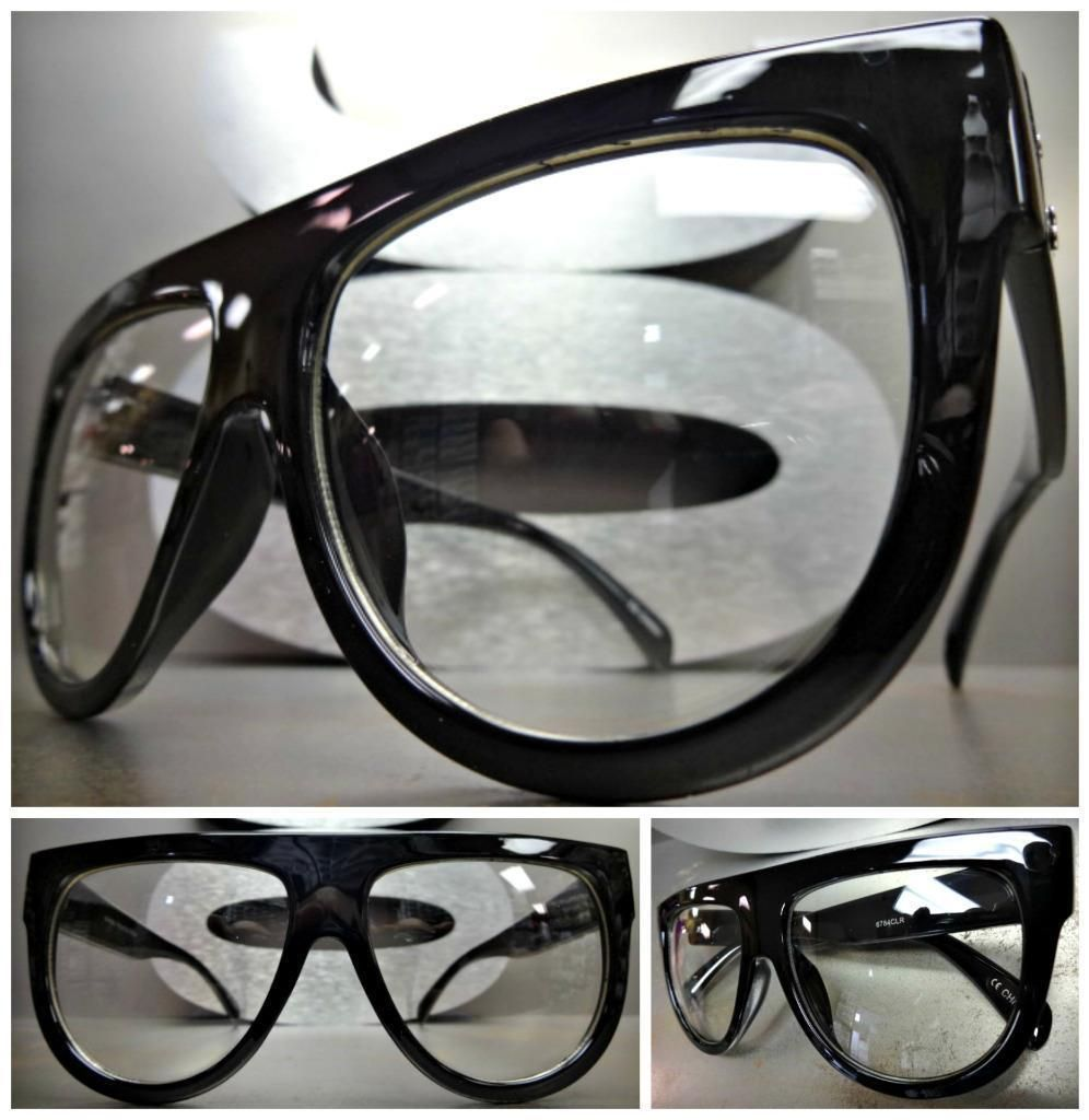 OVERSIZED CLASSIC VINTAGE RETRO Style Clear Lens EYE GLASSES Black Fashion Frame