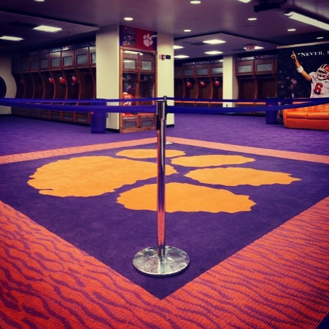 No Standing On The Tiger Paw Here Is Another Shot Of The Custom Carpet Jjflooringgroup Did For The Clemson Locker Roo Clemson Clemson Football Clemson Tigers