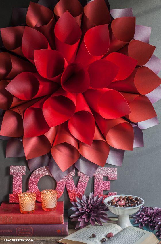 Diy Valentine Wall Decor : Paper flowers diy valentines starburst wedding