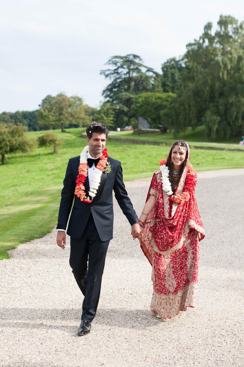 Multicultural hindu indian english wedding with traditional sari