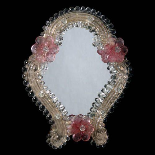 Venetian frame in gold and pink murano glass, homemade di Muranospareparts su Etsy