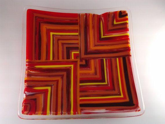 Fused Glass Pattern Bar Dish Red Orange Yellow by AngelasArtGlass