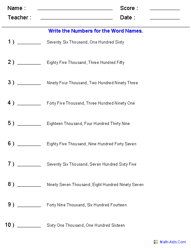 Writing Integer Numbers from the Word Names Place Value 3rd – Number Names Worksheet