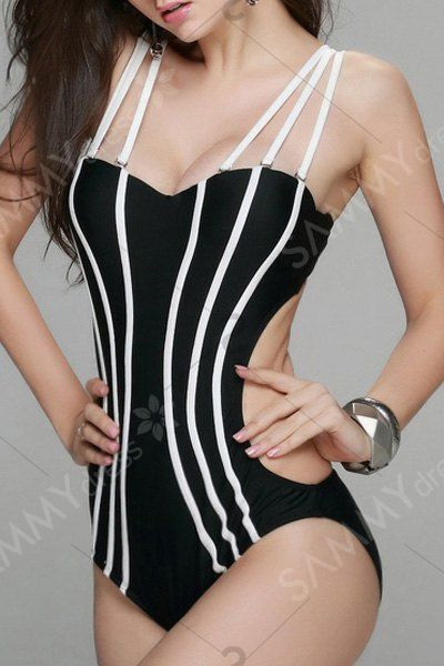 Sexy Spaghetti Straps Backless One Piece Swimwear For Women in Black | Sammydress.com