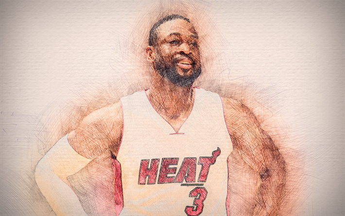 Download Wallpapers Dwyane Wade 4k Artwork Basketball Stars Miami Heat Nba Basketball Drawing Dwyane Wade Besthqwallpapers Com Basketball Star Dwyane Wade Miami Heat