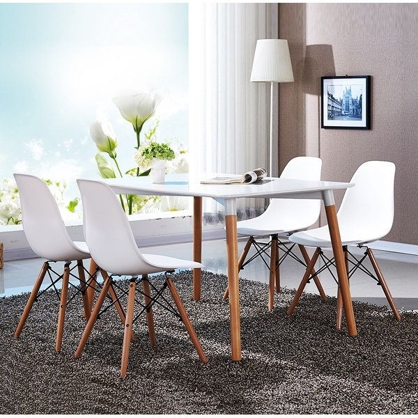 Vecelo Eames Side Chair With Natural Wood Legs Set Of 4 Modern Dining Room ChairsDining BenchNatural