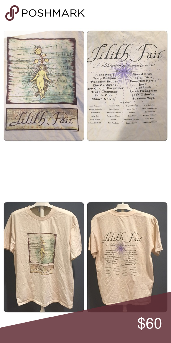 VTG Rare 1997 Lilith Fair festival concert Tshirt Super rare souvenir t shirt from the First  1997 Lilith Fair festival concert. Front is a posing naked woman and On the back is all the people who played that year. Super rare and super cool collectible. No holes stains rips tears or pulls . Printed on a Glidan heavyweight 100% cotton tee Vintage Tops Tees - Short Sleeve