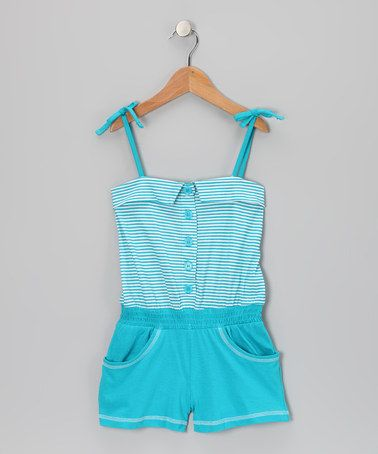 Take a look at this Pacific Blue Stripe Button Romper - Infant, Toddler & Girls by Longstreet on #zulily today!