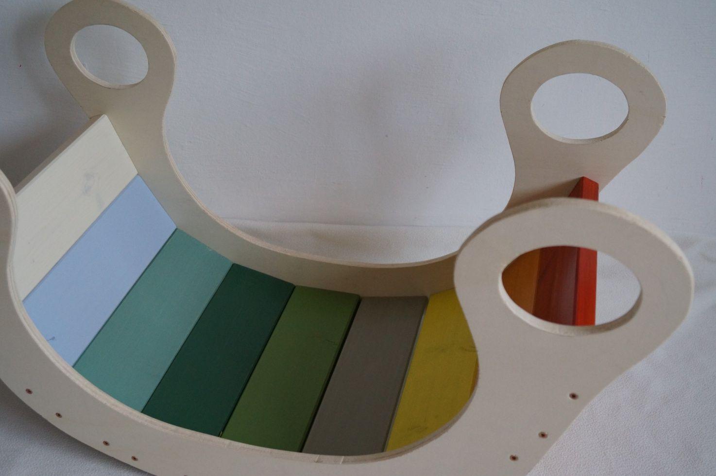 eine regenbogenwippe bauen diy von kinderzimmer einrichten und diy ideen pinterest wippe. Black Bedroom Furniture Sets. Home Design Ideas