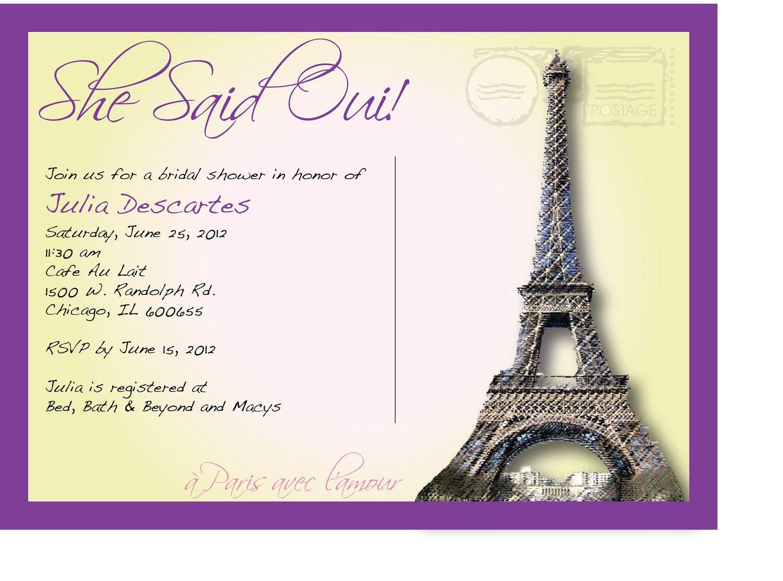 Parisian themed bridal shower she said oui french themed wedding she said oui french themed wedding shower invitation stopboris Images
