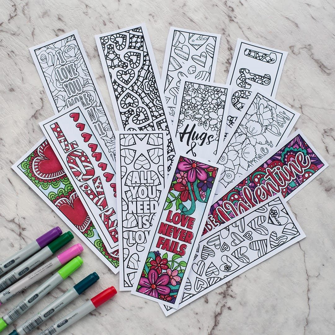 Free printable Valentine\'s Day coloring bookmarks | Colour ...