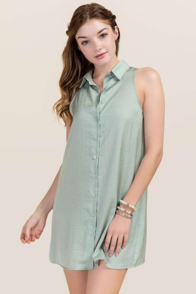 Sage Pocket Satin Shirt Dress