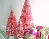 3 Large Pink Glitter BottleBrush Christmas Trees Bottle Brush Christmas Tree Set