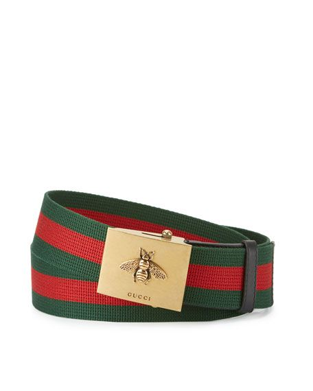 a4bcfe05922 GUCCI Canvas Web Belt W  Bee Buckle.  gucci