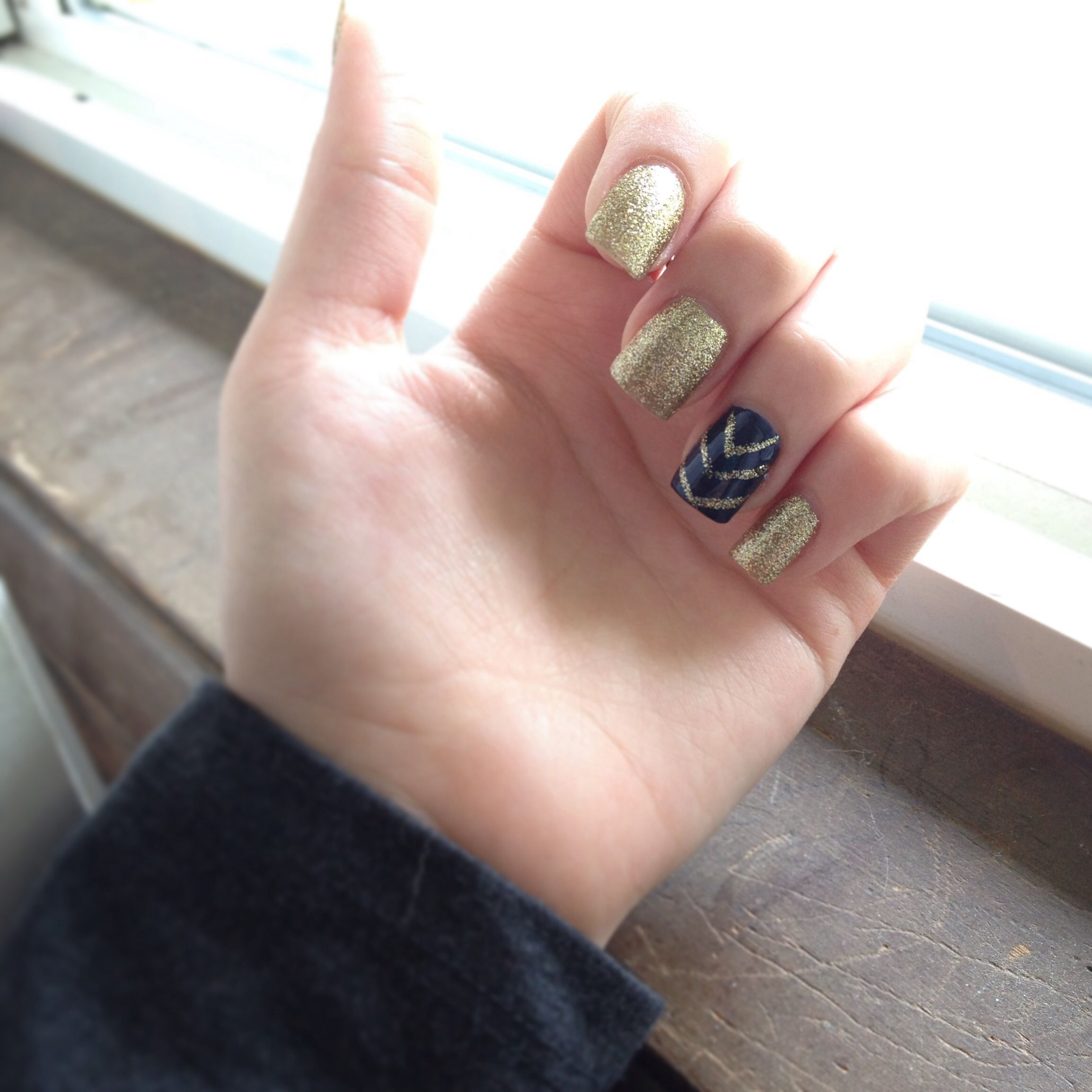 Prom nails, navy blue and gold glitter acrylic nails | Nails ...