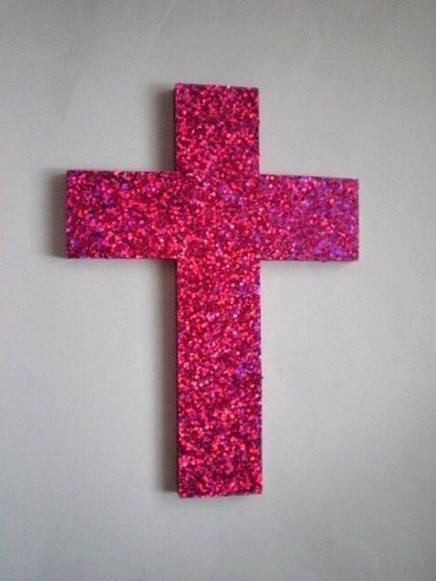 Pink Glitter Cross Large Decorative Wall Cross W Sparkling Bright