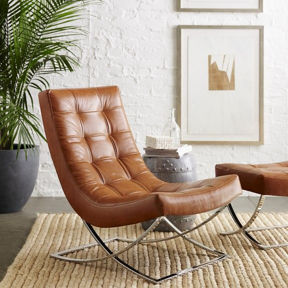 James (iconic Baubaus) Nickel U0026 Leather Chair, Saddle Leather, Solid,