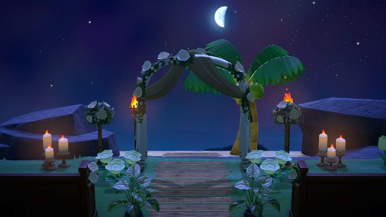 Acnh Secret Beach Wedding In 2020 Animal Crossing Wedding Set Up Wedding Sets