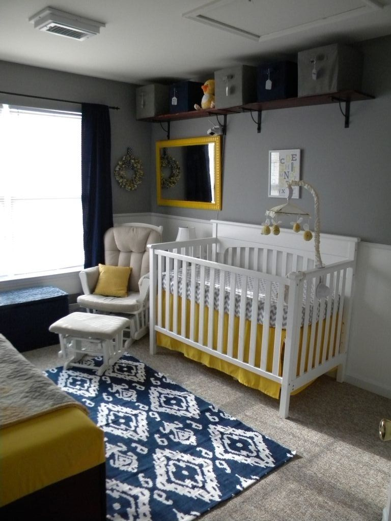 Thrifty Navy Yellow Grey Nursery Yellow Accents