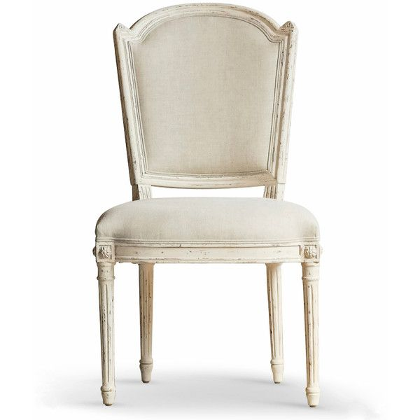 Flins French Country Antique White Fog Linen Dining Vanity Chair Found On Polyvore Dining Chairs Beige Dining Chair Linen Dining Chairs