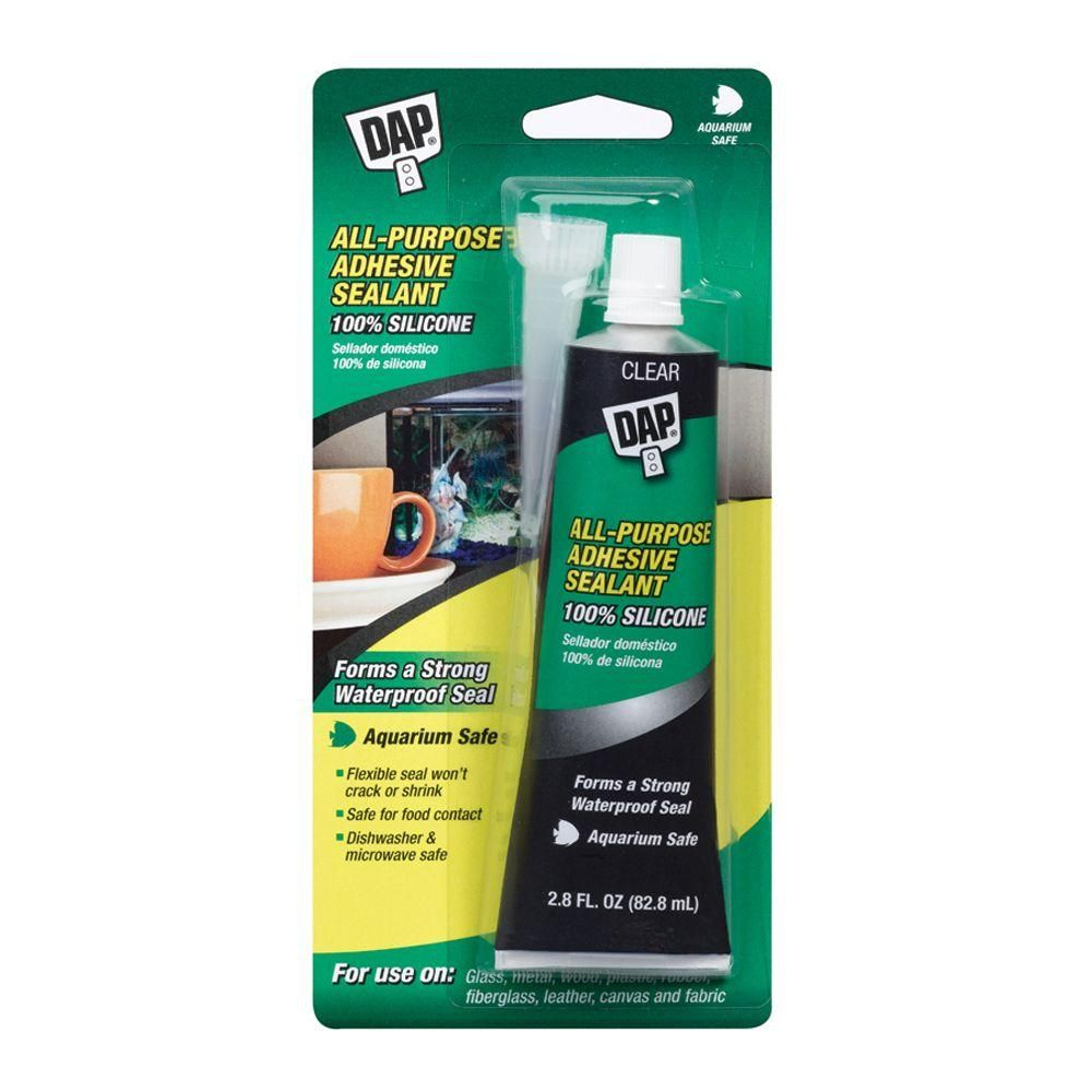 Dap Silicone 2 8 Oz Clear Aquarium Sealant 00755 The Home Depot Sealant Adhesive Silicone Adhesive