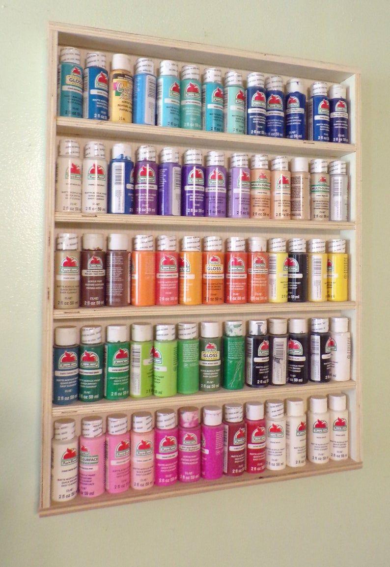 Craft Paint Rack Paint Storage Arts And Crafts Acrylic Etsy In 2020 Acrylic Paint Storage Craft Paint Storage Craft Room Office