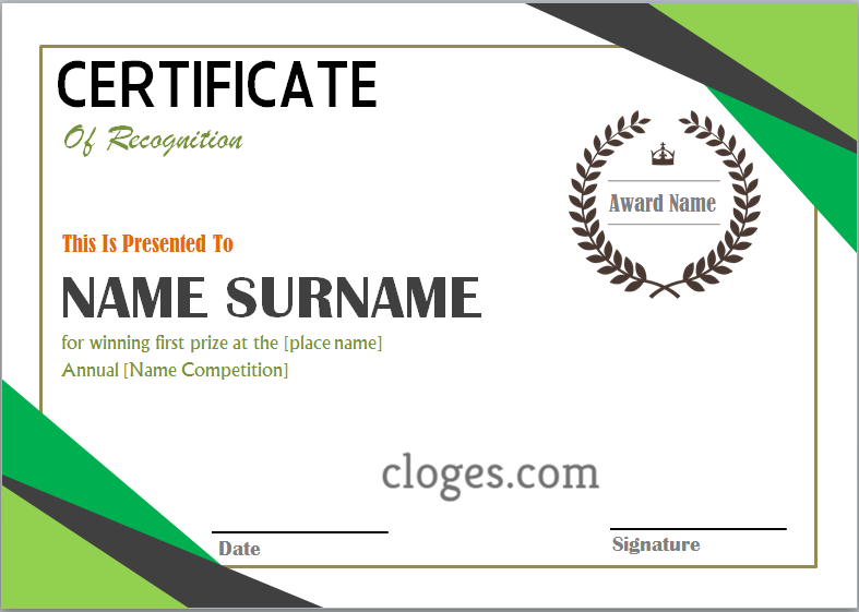Green Word Certificate Of Recognition Template Certificate Of Recognition Template Word Template Words