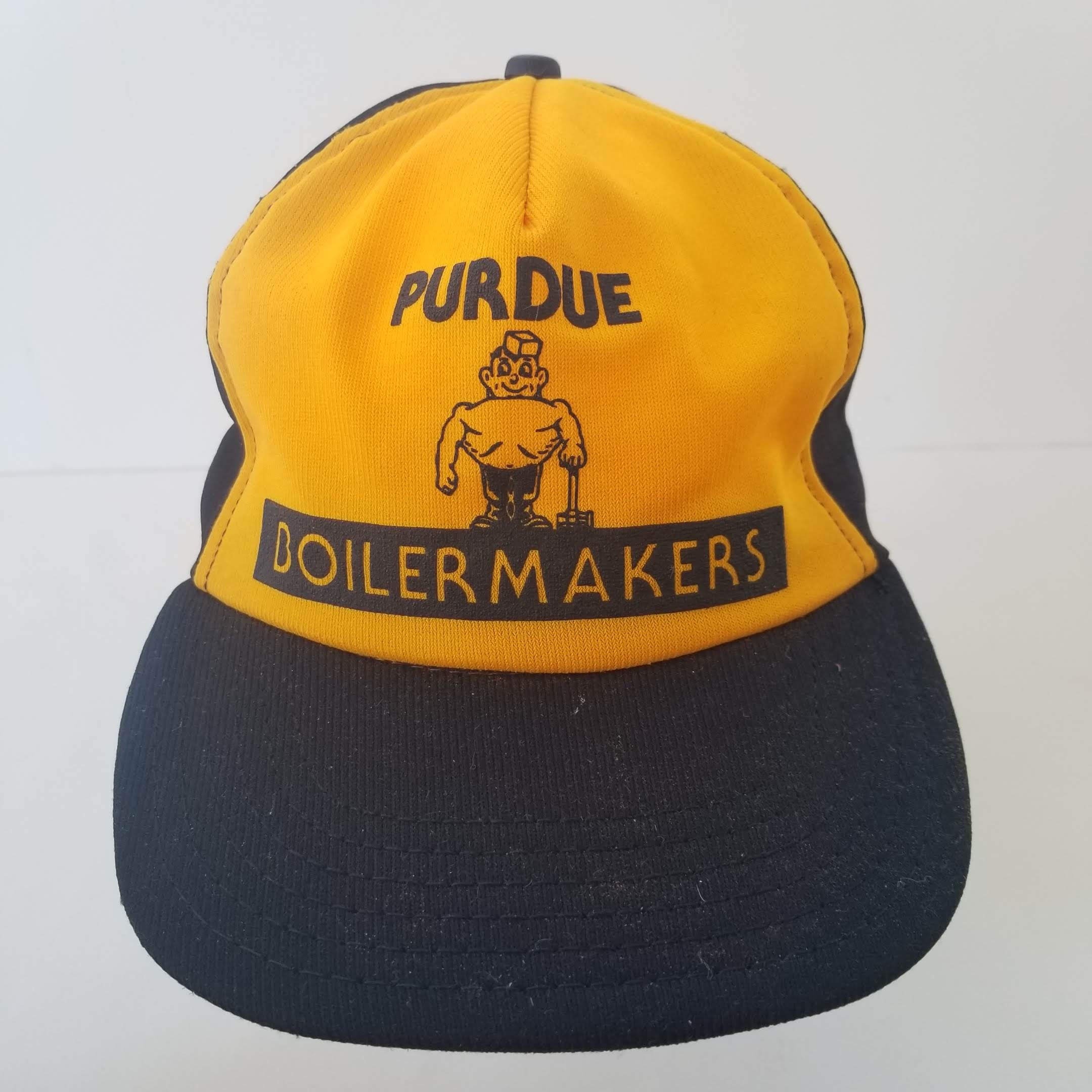 9a200948918 ... reduced vintage purdue boilermakers trucker hat snapback cap black  yellow gold made in usa perdue pete