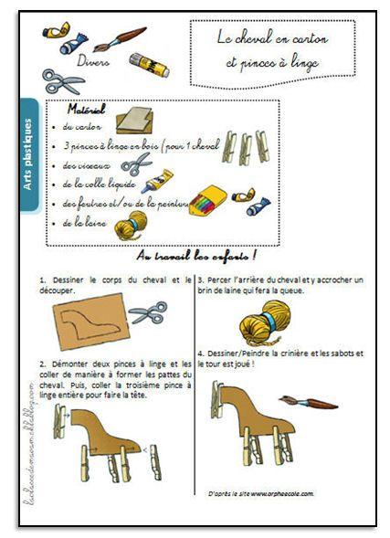 le cheval en carton et pinces linge tap cp au cm2 pinterest carton linge et activit. Black Bedroom Furniture Sets. Home Design Ideas