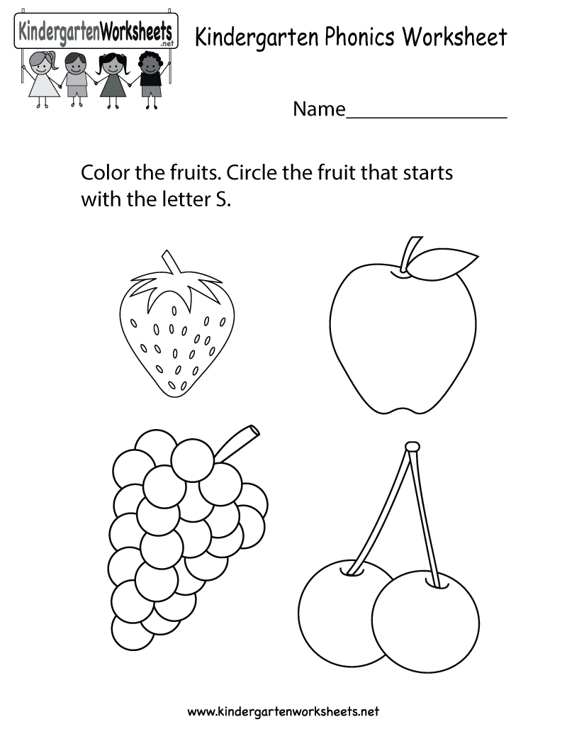 Phonics worksheet that kids can also color You can download – Kindergarten Phonics Worksheet