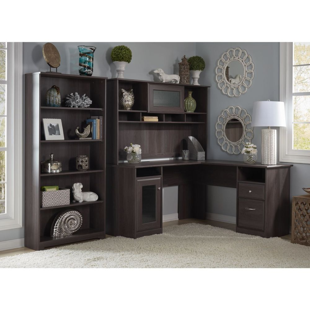 office desk luxenford grayish with product hutch new home brown
