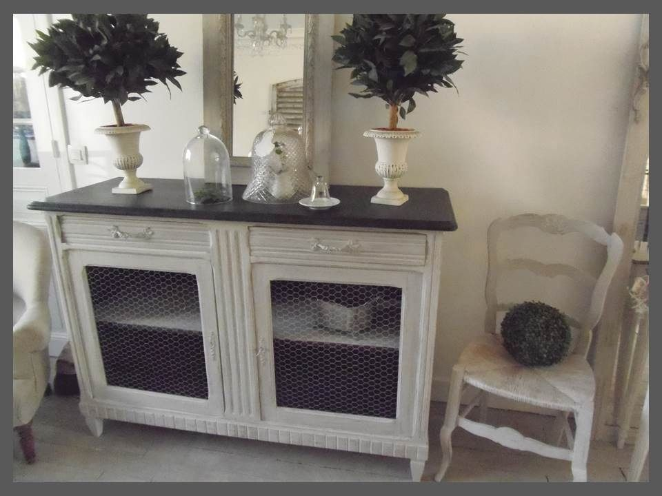 meuble buffet grillag patin gris perle blanc poudr gris ardoise meubles et rangements par. Black Bedroom Furniture Sets. Home Design Ideas