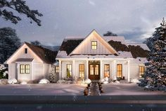 Plan 56440SM: Split Bedroom Modern Farmhouse With Rear Grilling Porch