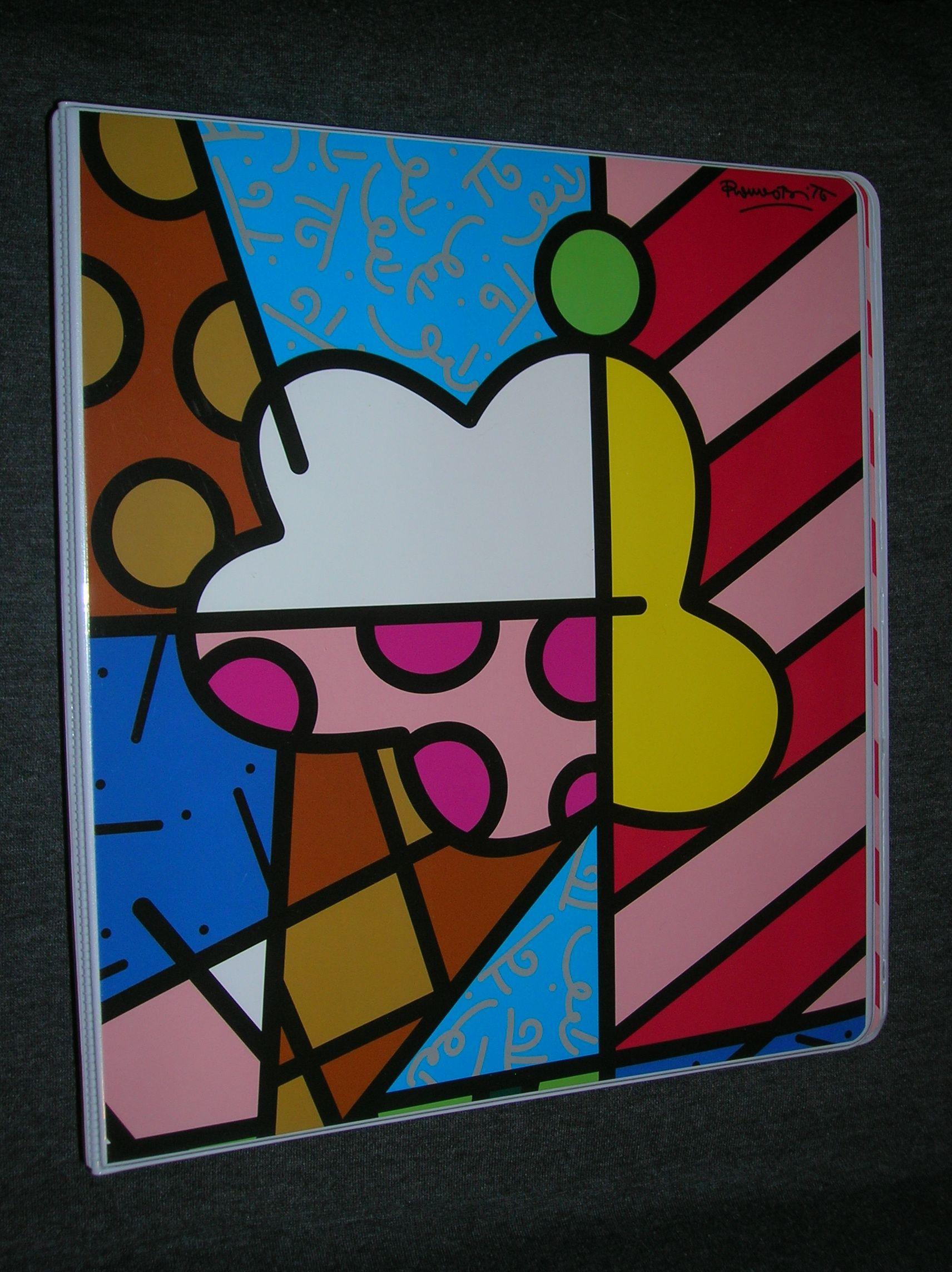 Rare Pop Art Designer Notebook Artist Romero Britto 3 Ring Binder School Office Romero Britto Art Romero Britto Britto Art