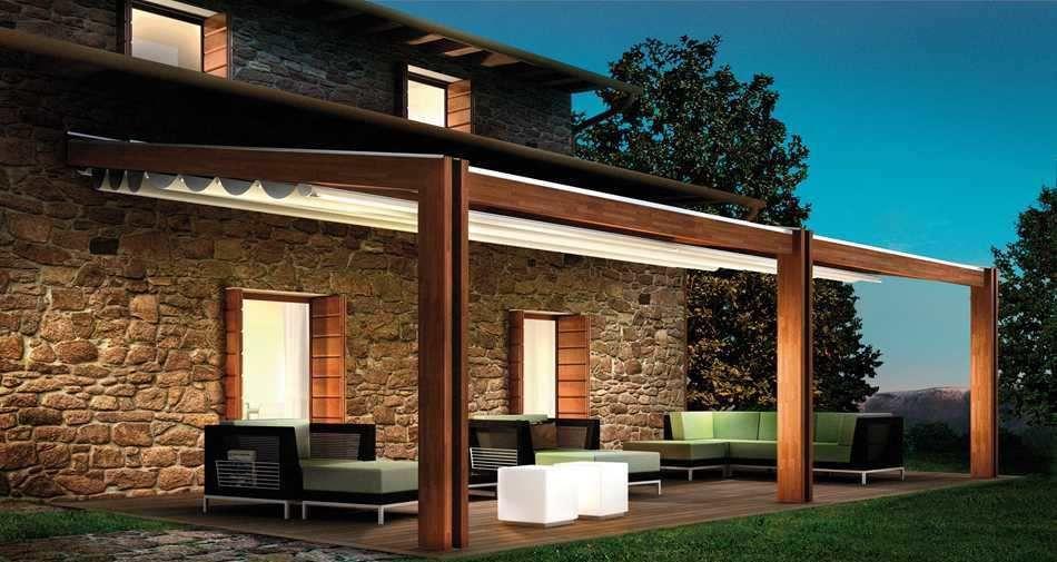 Fachadas de casas modernas com pergolado patios pergolas and decking - Pergola toile retractable ...