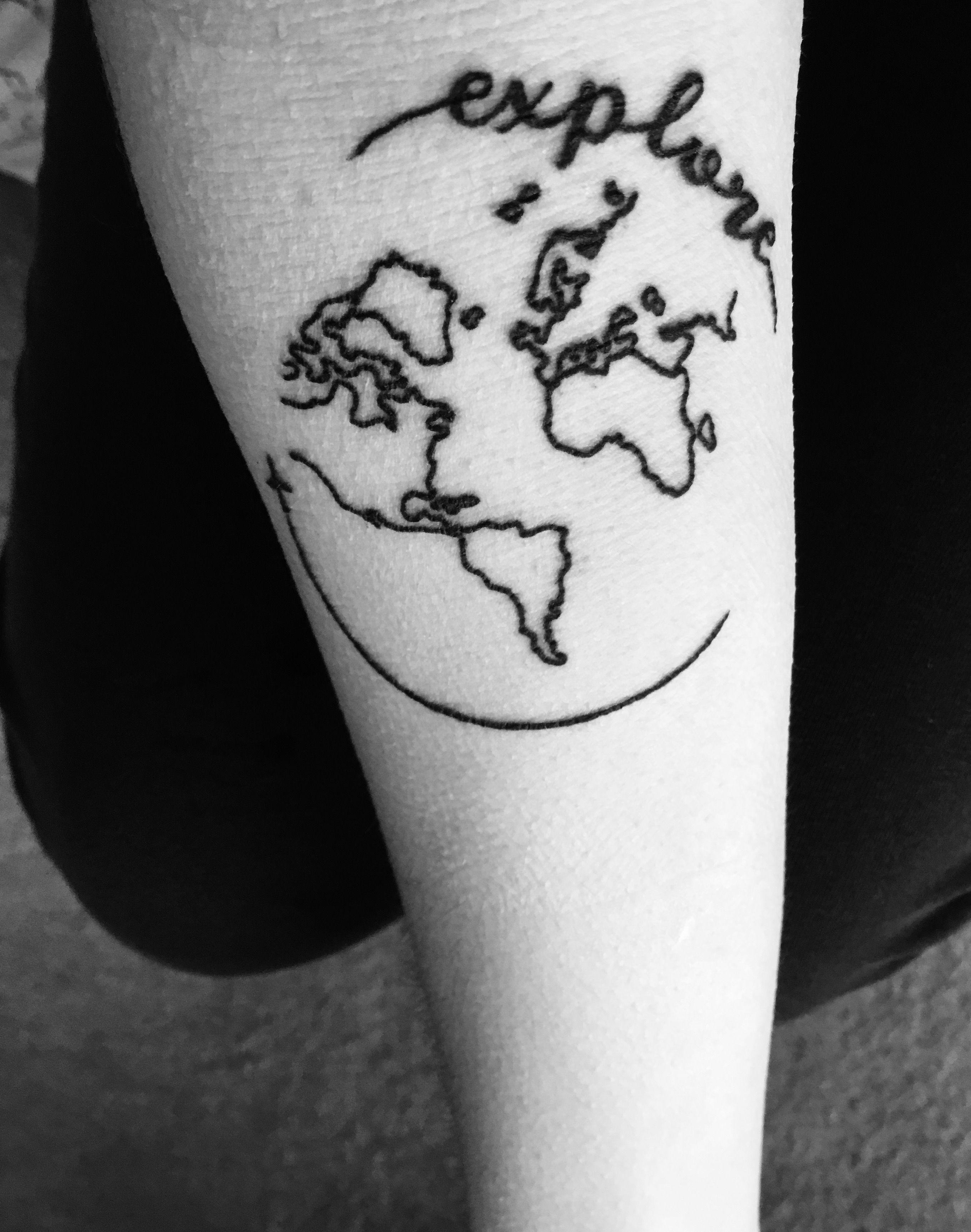 World Tattoo Small: Small World Tattoo! #travel #explore #tattoo #world