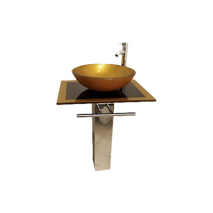 Glass Circular Vessel Bathroom Sink With Faucet Glass
