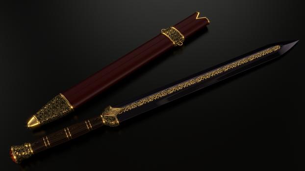 Imperial Sword Ebony Version By Etrelley Sword Sword Design Weapon Concept Art