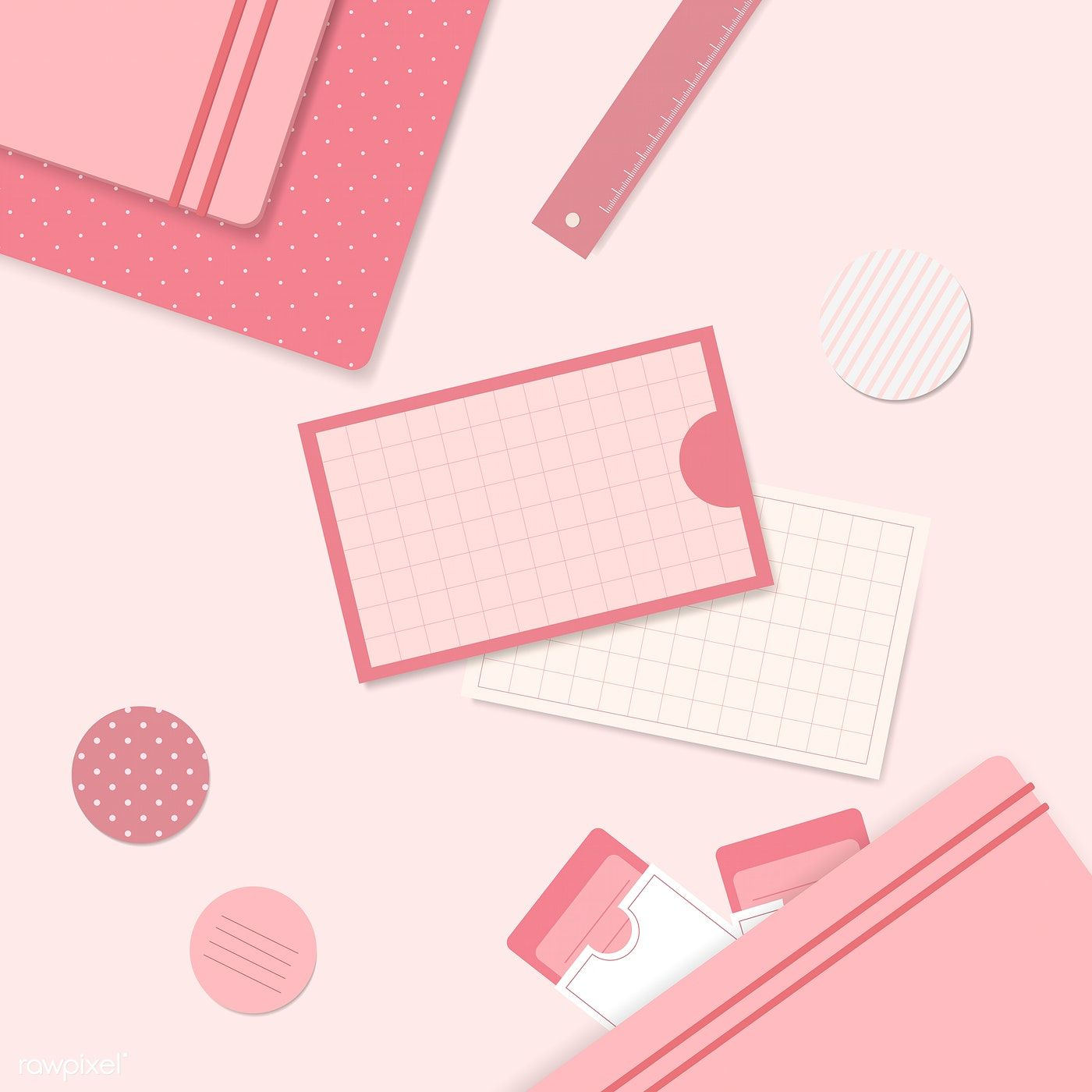 Download Premium Vector Of Pink Stationery Planner Set Vector 1209407 Pink Stationery Math Wallpaper Planner Notepad