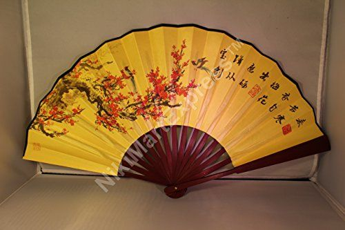 Large Beautiful Chinese Plum Flowers Bamboo Silk Hand Folding Fan Wall Art Decoration Be Sure To Check Out This Awesome Bamboo Silk Plum Flowers Wall Fans