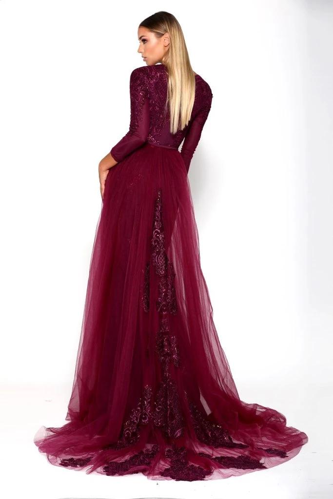 Portia And Scarlett Luranet Plum Long Sleeve Evening Gowns Wedding Dress Long Sleeve Glam Dresses