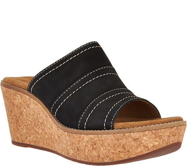 0eebbf82e3f Clarks Artisan Nubuck Leather Wedge Sandals - Aisley Lily