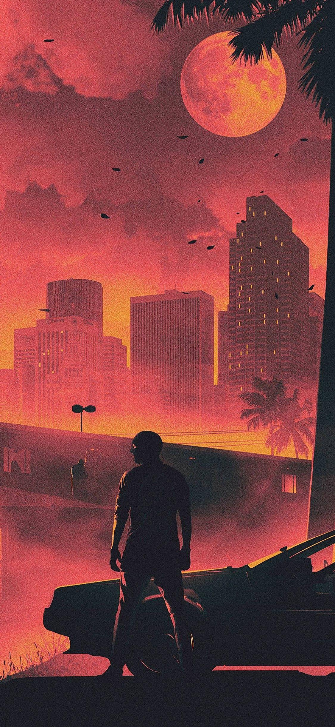 Hotline Miami Game Retro Style Dark Life Cityscape Iphone X