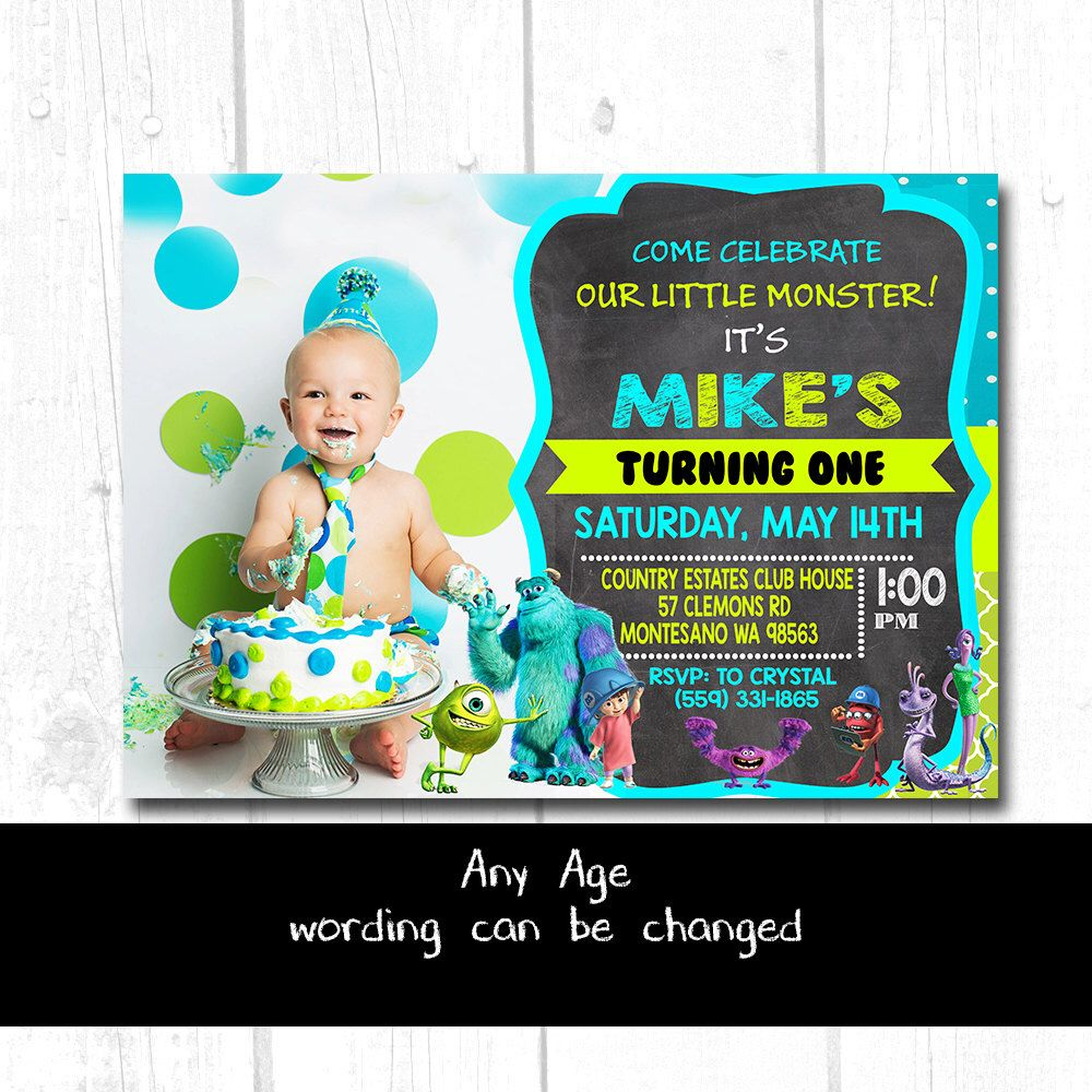 MONSTERS INC Party SUPPLIES, Monsters Inc Birthday Invite, Monsters ...