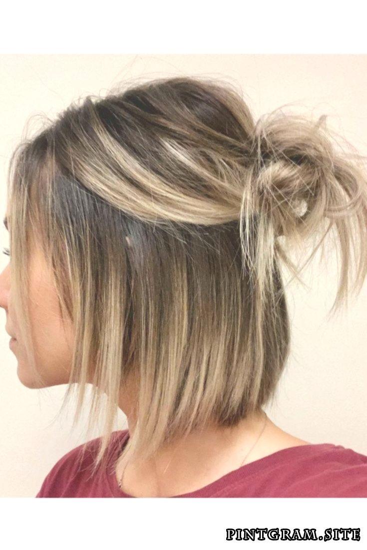 half up bun | frisuren, mittellange haare frisuren einfach