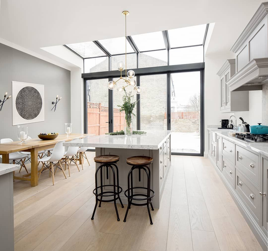 Houzz Uk And Ireland On Instagram Wrap Around Glass That Runs From Floor To Ceiling And Beyond In This Lldesign In Kitchen Design Kitchen Kitchen Flooring