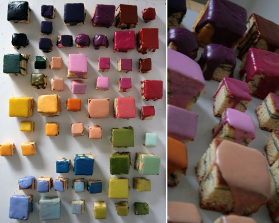 color block cakes