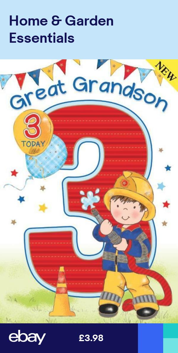 Great Grandson 3rd 3 Fireman Balloon Bunting Design Happy Birthday Card Happy Birthday Cards Condolence Card Birthday Cards